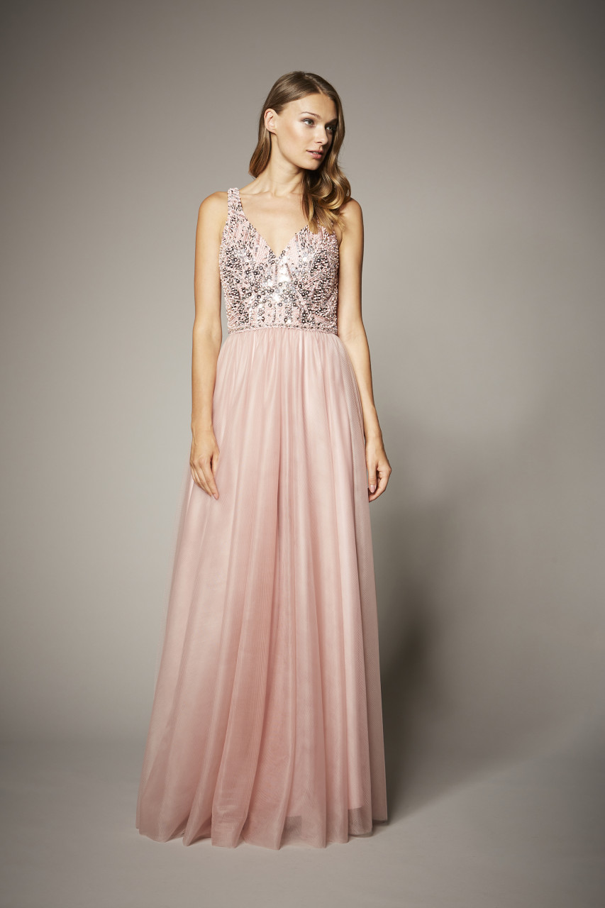 BEADED TULLE GOWN