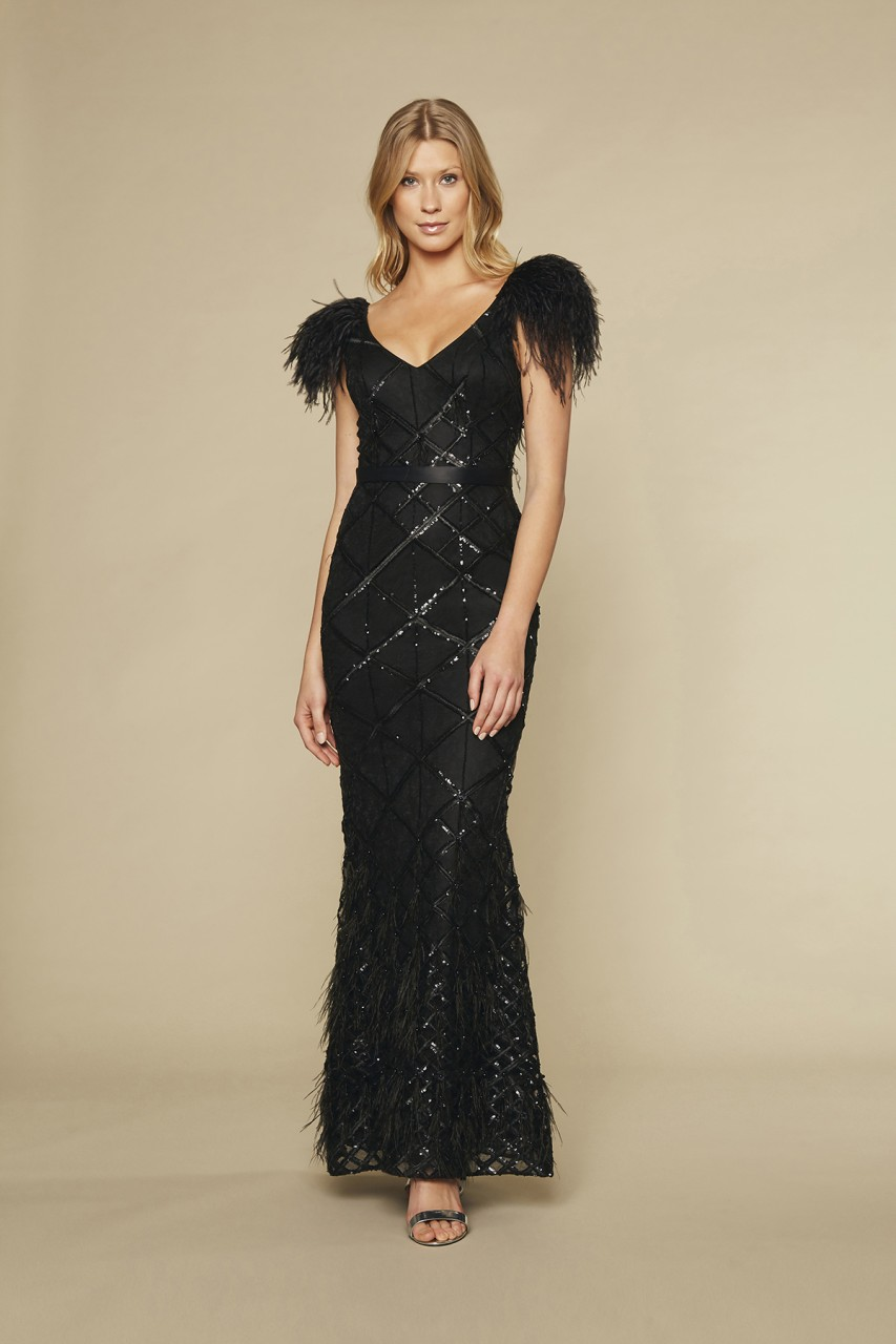 FEATHER DETAIL GOWN