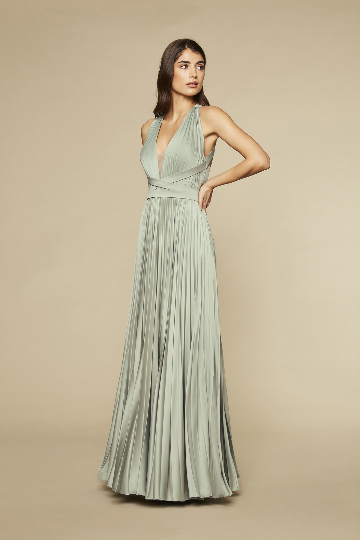SATIN PLEATS DRESS