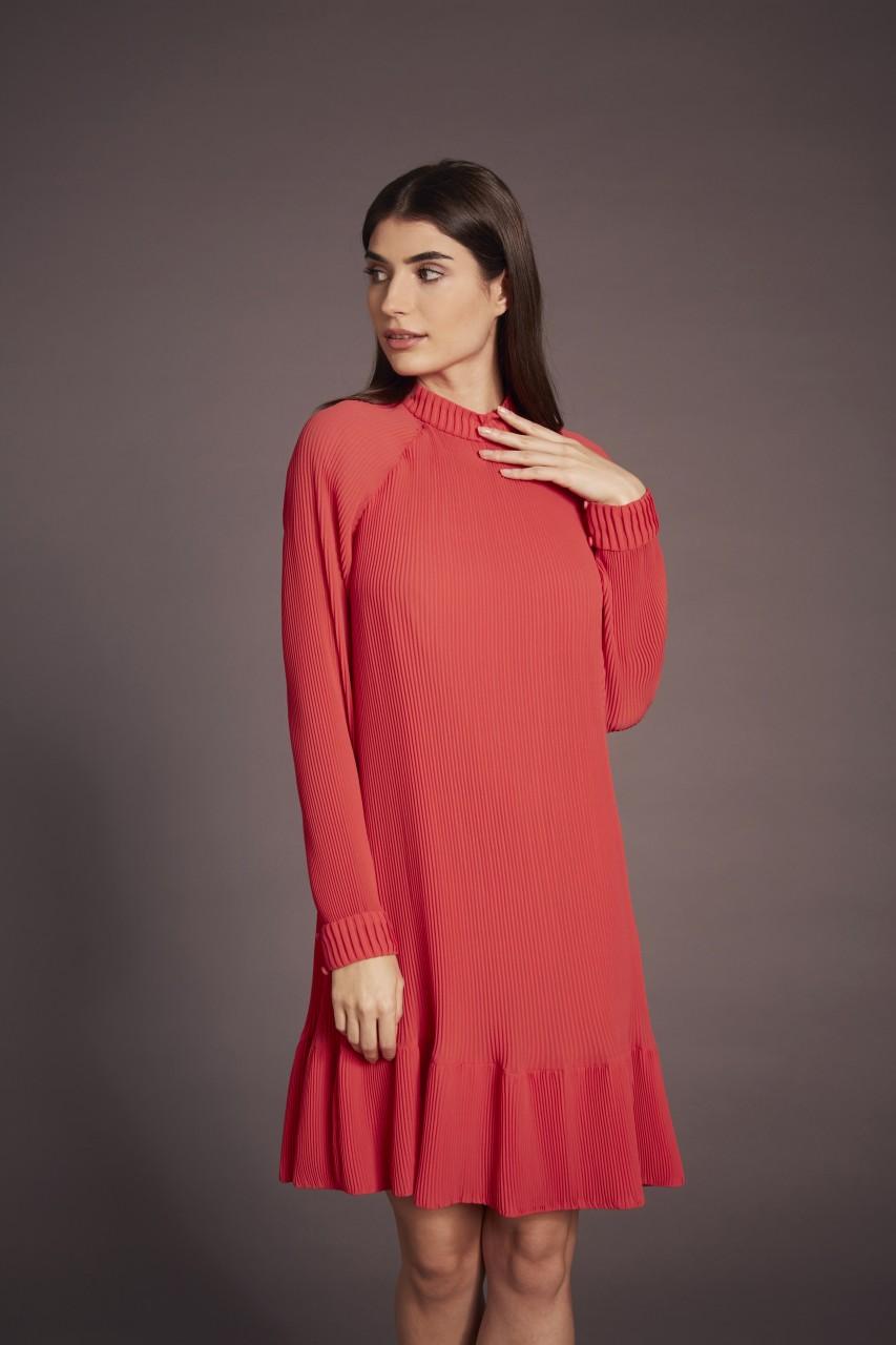 ORANGE PLISSEE DRESS