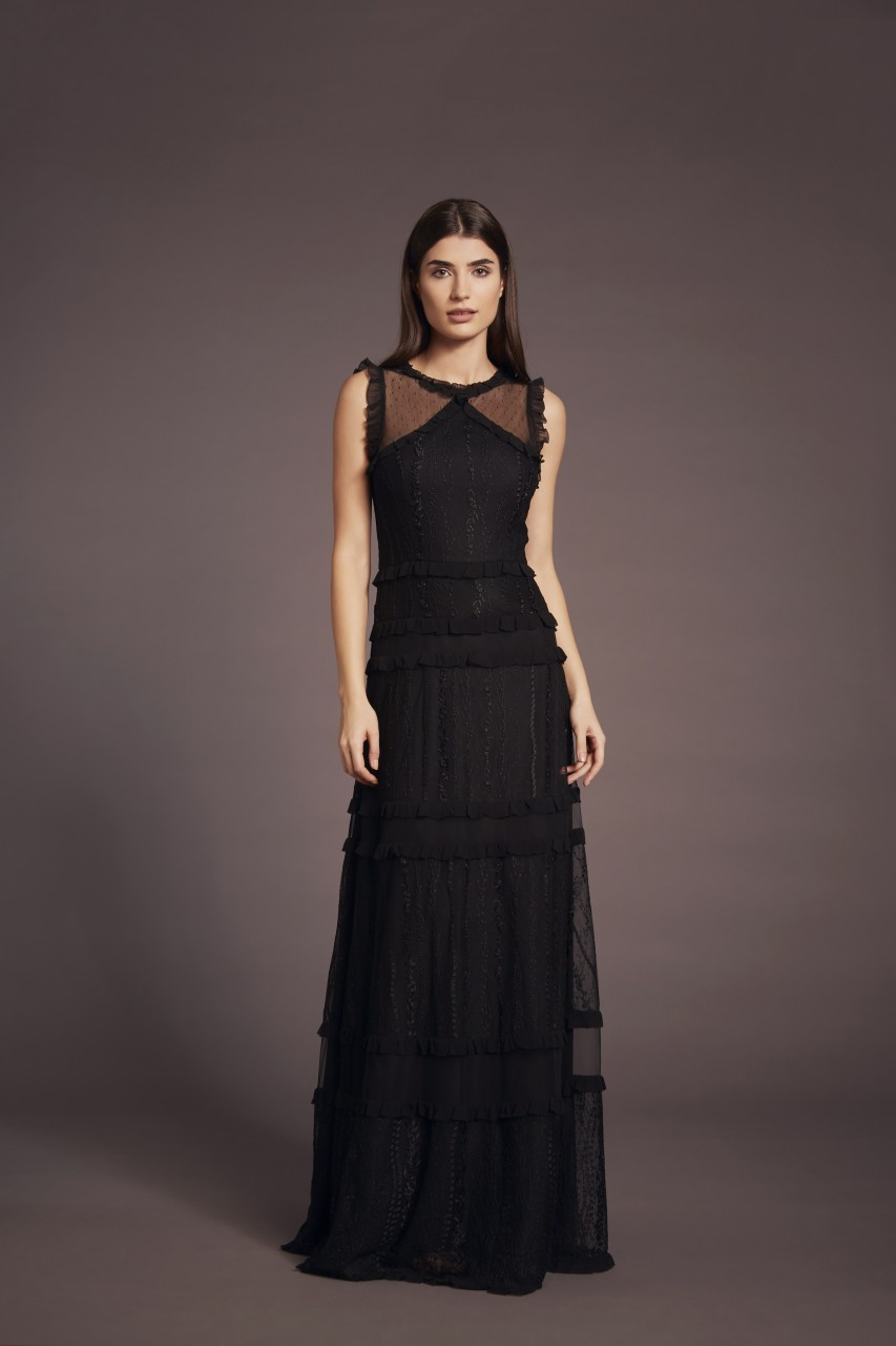 BLACK FRILL DRESS